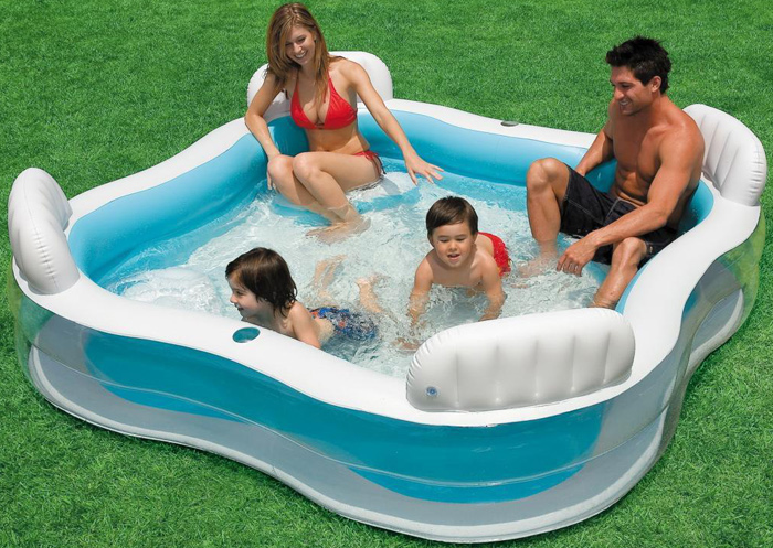 Intex inflatable swimming pool for family inflatable piscina 229*229*66cm include repair patch(China (Mainland))