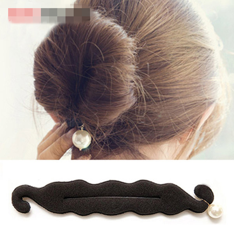 2016 pearl sponge disc meatball head versatility Women's Hair Accessories Double hook head hair styling tools hair accessories(China (Mainland))