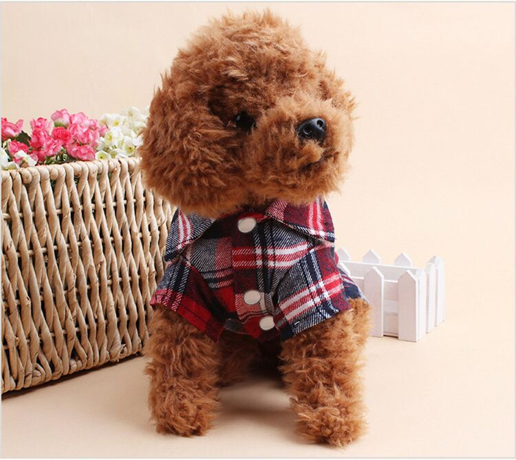 font b Plaids b font Shirt Apparel Lapel Costume Dog Clothes The Spring Festival T