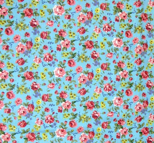 Shabby chic rose print fabric green cotton fabrics twill for Tissu shabby chic