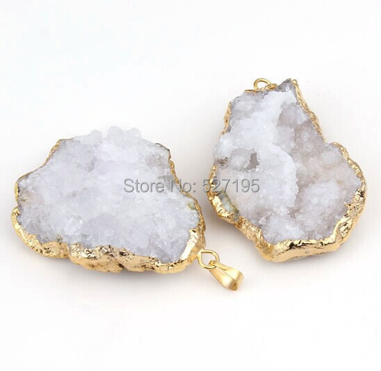 wholesale 10PCS Silver Natural White crystal Druzy Jewelry Necklace Pendant, Drusy stone charms Pendant