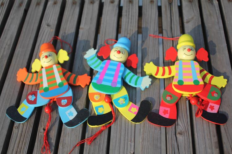2pcs/lot baby wooden clown marionette toys/ kids children hand held shadow puppet plush doll for educational toys, Free shipping<br><br>Aliexpress