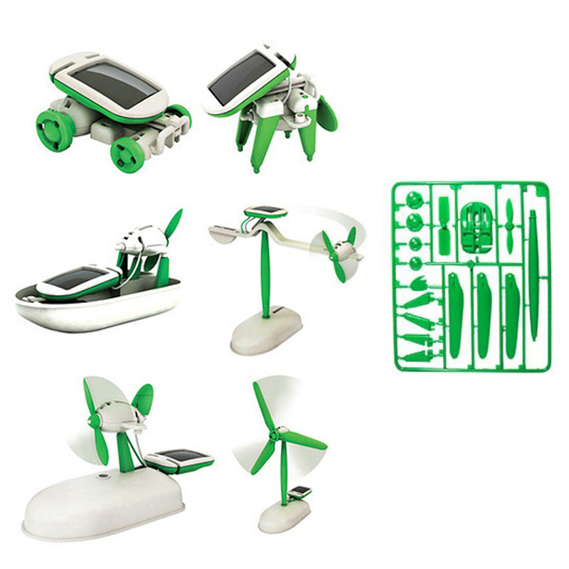 6 in 1 Kit Solar Toys DIY Magic Mini Assembling Educational Robot Car Children Electric Toy for Christmas Gift Action Figures(China (Mainland))