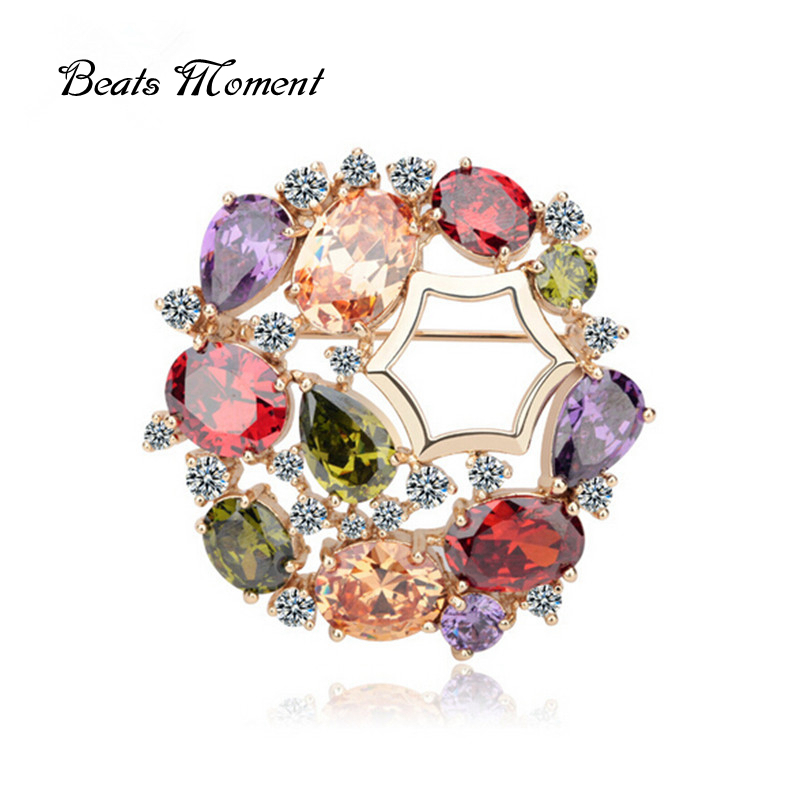 brooches Beats Moment over $10 free shipping blusa Accessories cooper real gold AAA CZ diamond flower MonnaLisa brooches<br><br>Aliexpress