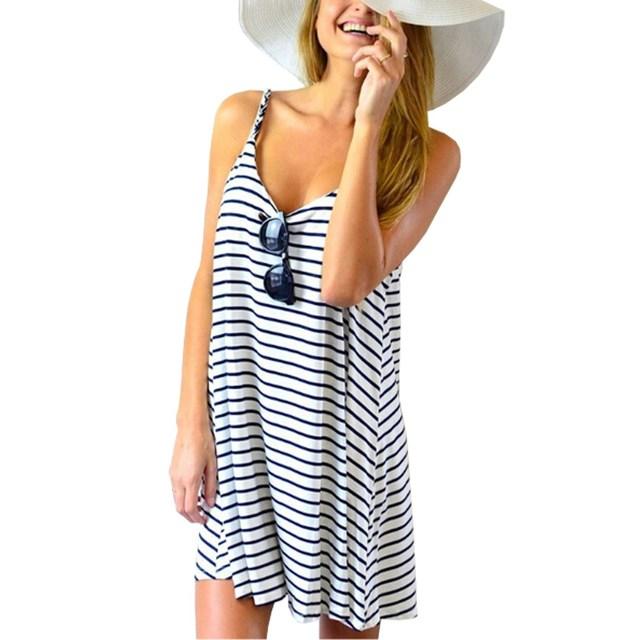 Новые женщины летнее платье 2016 мода свободного покроя полосатый сексуальная спагетти ремень рукавов короткие платья пляжа Большой размер S-3XL vestidos