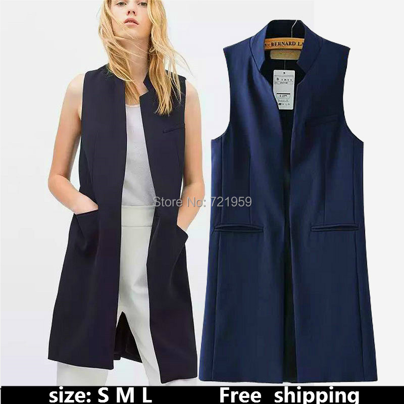 Sell well Fashion Womens Slim Black Waist Coat Sleeveless Covered Button Vest Ladies' Fashion Jacket 2015 new colete bx51(China (Mainland))