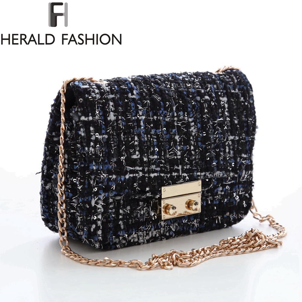 Herald Fashion Famous Brand Weave Women Messenger Bag Double Chain Strap Women Shoulder Bag Vintage Small Mini Flap Bag Bolsas<br><br>Aliexpress