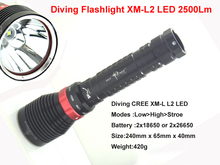 Super high beam Underwater Diving Flashlight Torch XM-L2 LED 2500Lm  Light Lamp Waterproof(China (Mainland))