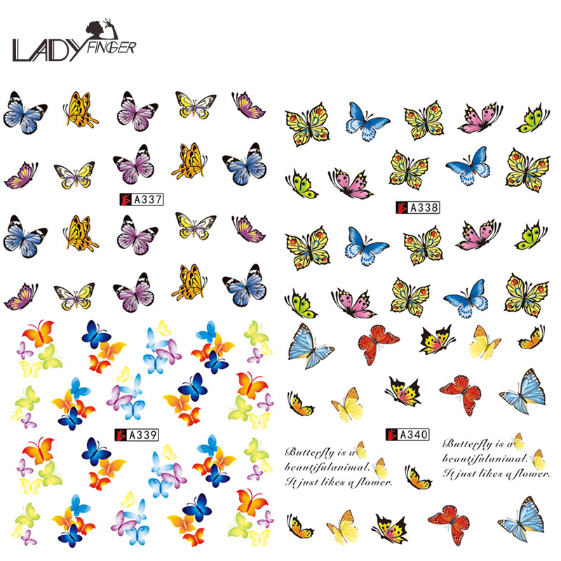 Lady Finger 1 Sheet Colorful Butterfly Nail Tips Full Cover Wraps Decoration Nail Art Water Transfer Stickers Tools A337-340(China (Mainland))