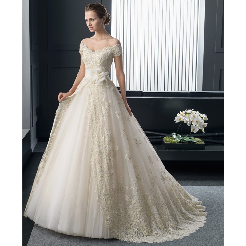 Lace Wedding Dress With Cap Sleeves Style D1919 : Fashion cap sleeve full lace wedding dress elegant short sleeves
