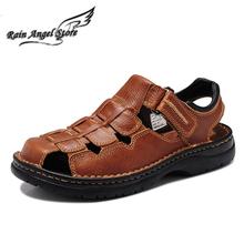 Fashion Summer Genuine Leather Men's Sandals Large Size 46 47 48 Casual Breathable Close Toe Beach Male Sandalia - Rain Angel store