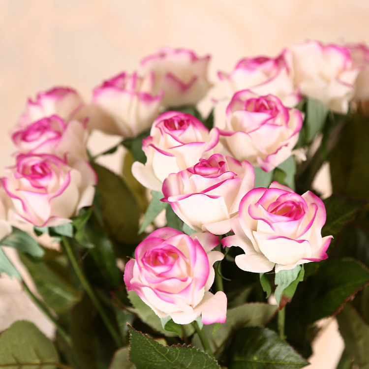 Real touch rose artificial silk flowers wedding decorative flowers bouquet home decoration 1pcs/lot(China (Mainland))