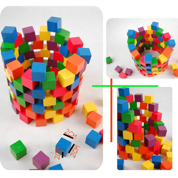 100PCS/LOT.2cm wood cube,Colorful wood block,Wooden cube building blocks,Early educational toys.Birthday gift.Freeshipping(China (Mainland))