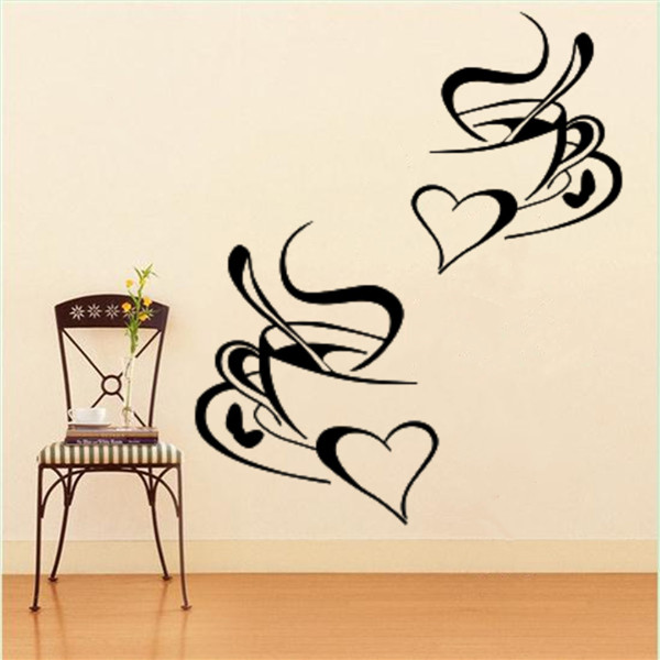 1PC 2 Coffee Cups Sticker Decal Heart Cafe Restaurant Wall Window Mural Decor(China (Mainland))