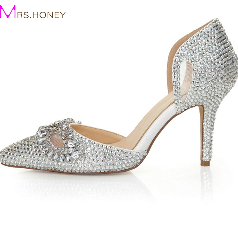 Silver Rhinestone Heels Pointed Toe Bling Cinderella Shoes Size 40 41 8cm Bridal Dress Shoes Nightclub Crystal Women Prom Shoes(China (Mainland))