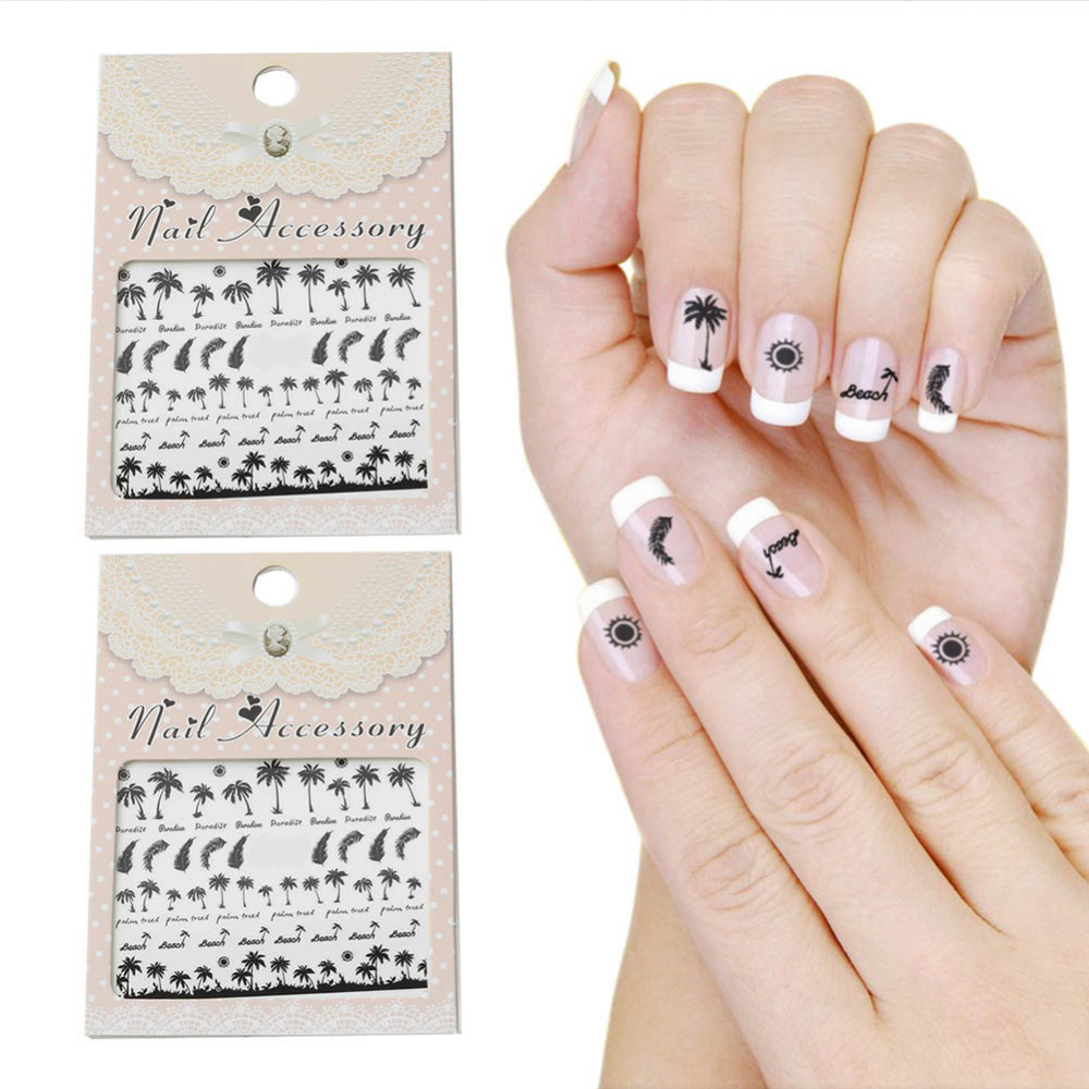 2 Sheet Summer Beach Coconut Design Temporary Nail Decals Nail art Tattoos Water Transfer Stickers for Nail Art Decoration(China (Mainland))