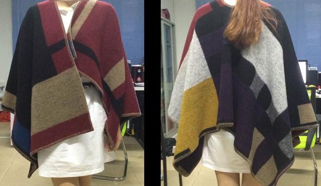 Oversized Sweater Cardigan 2015 Olivia Palermo Runway Catwalk Street Snap Knitted Cardigan Plaid Cape Poncho Shawl