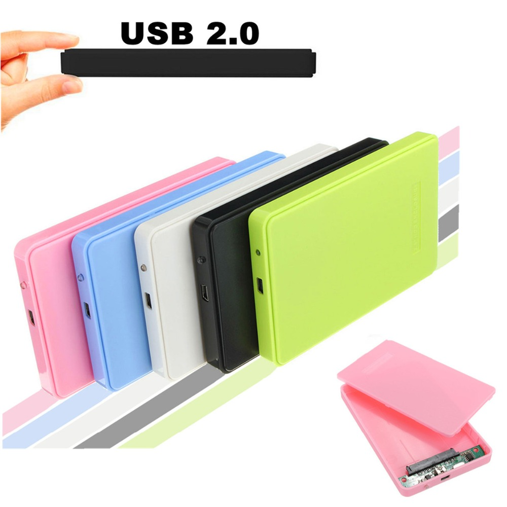Lowest Price Slim and Portable USB 2.0 Enclosure External Hard Case for SATA 2.5 Hard Disk Drives HDD desktop laptop Colorful(China (Mainland))
