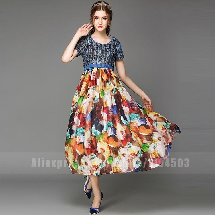 New Summer Ladies Long Dress Denim Patchwork Cotton Maxi Dress Floral Printing Dresses For Elegant Women Vestidos Plus Size