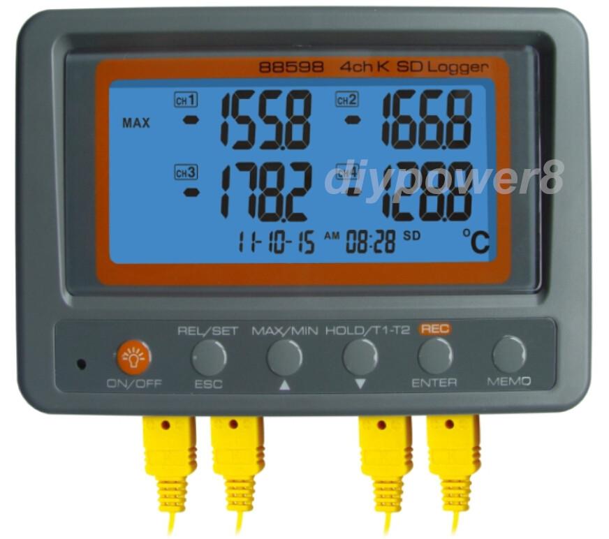 Multi-channel Digital Thermometer AZ88598 4 Channel K Type Thermocouple Temperature logger SD Card Data Logger AZ-88598<br><br>Aliexpress