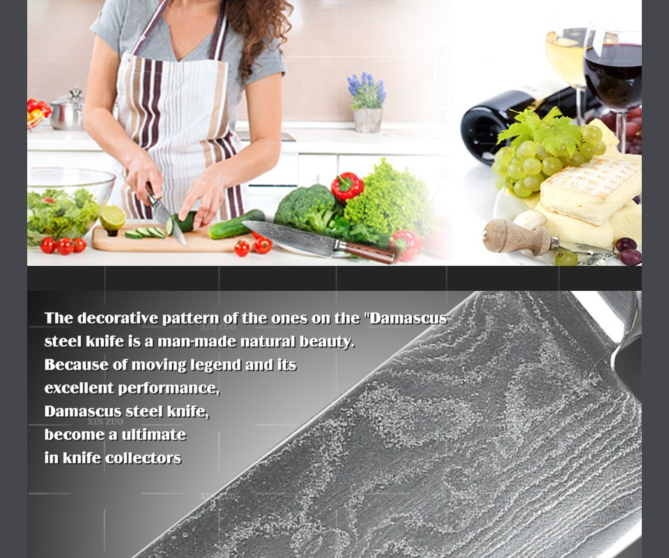 """Buy HOT 8"""" inches 73 layers Japan VG-10 Damascus steel kitchen knife High quality forged chef knife Color wood handle free shipping cheap"""