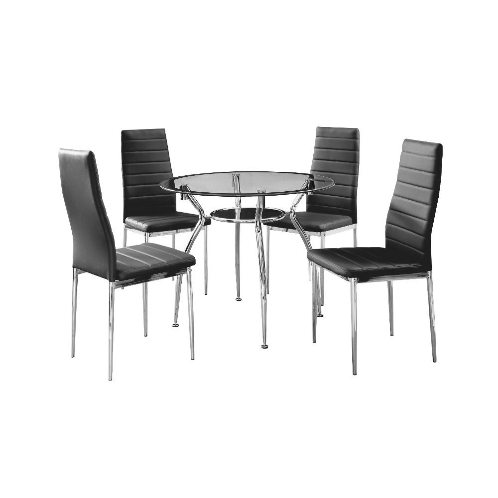 Online kopen wholesale zwarte glazen tafel en stoelen uit china zwarte glazen tafel en stoelen - Glazen tafel gesmeed ijzer en stoelen ...