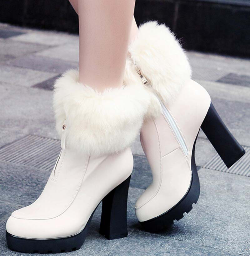 new boots Warm fur quality high heels ankle boots fashion platform leisure autumn winter women boots for women round toe<br><br>Aliexpress