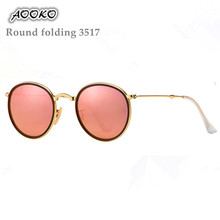 Newest Brand Designer 3517 Round Folding Sunglasses Men Women UV400 Protection Gold Frame 3517 Pink Sunglasses Small Case