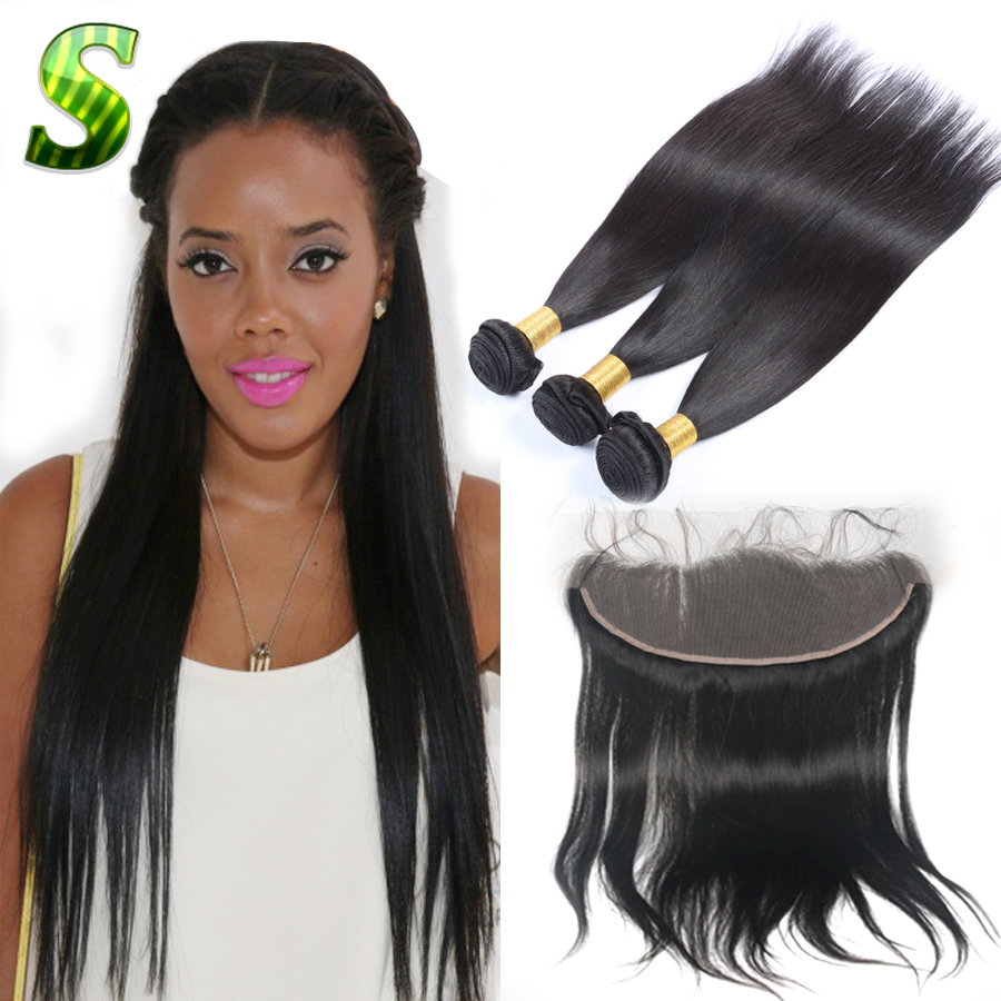 Brazilian Straight Lace Frontal Closure With Bundles Human Hair 3 Bundles With Frontal Closure Virgin Hair Bundles With Frontal<br><br>Aliexpress