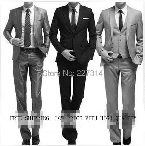2014 Fashion slim Male suits men formal business suit black grey  wedding dress gentlemen bridegroom jackets pants free shipping(China (Mainland))