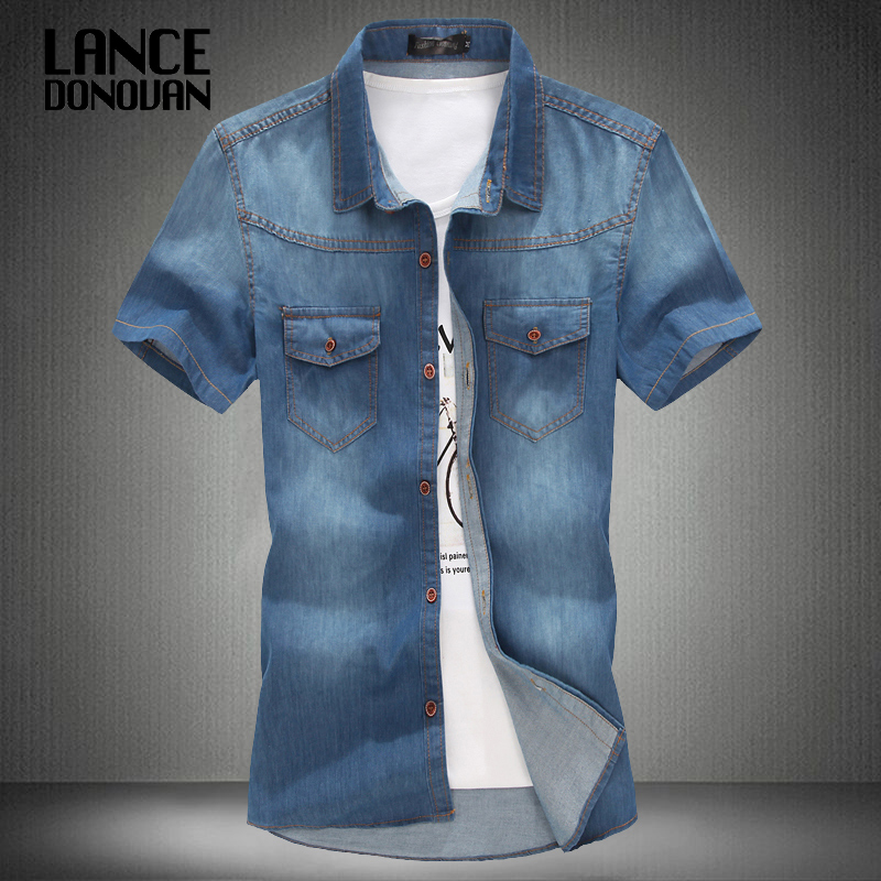 3 color blue summer denim jeans shirt men short sleeves 2014 Korean style fashion washed Slim Man casual GOOD QUALITY - Lance Donovan Professional Men Apparel & Accessories Store store