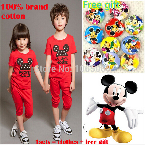 New 2015 Summer Children's Mickey Short Sleeve Suit Mouse Kids Clothing Sets Two-Piece Set Cute Cotton Clothes For Boys Girls(China (Mainland))