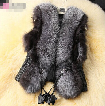 2015 Autumn and winter women's fashion faux fox fur vest outerwear lady's winter faux fur leather waistcoat plus size 3XL(China (Mainland))