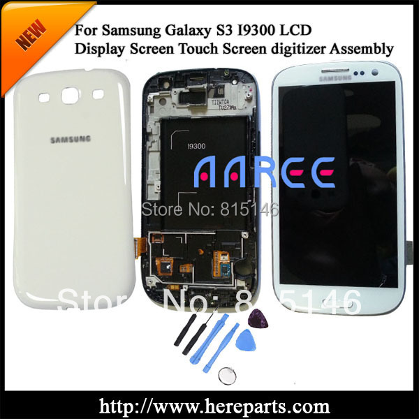 Original For Samsung Galaxy S3 i9300 LCD screen Digitizer Assembly with frame + Back Cover-white Free shipping + Tool Kits(China (Mainland))