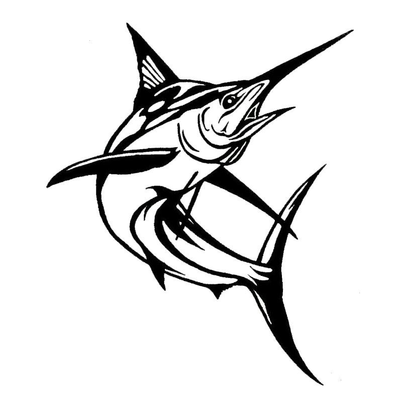 14*16.5CM Marlin Fish Car Styling Decorative Stickers Fashion Classic Animal Window Decals Black/Sliver C6-0613(China (Mainland))