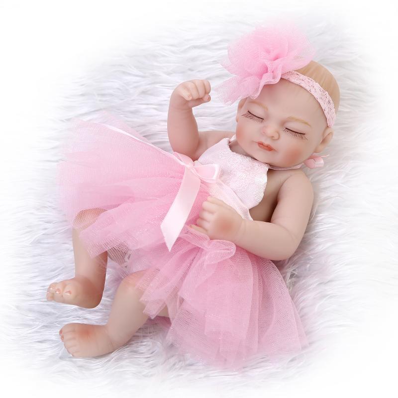 High-Grade Lifelike Soft Full Silicone Real Reborn Baby Dolls Cute Mini Newborn Training Girl Doll Kids Play Doll Toys Gifts(China (Mainland))