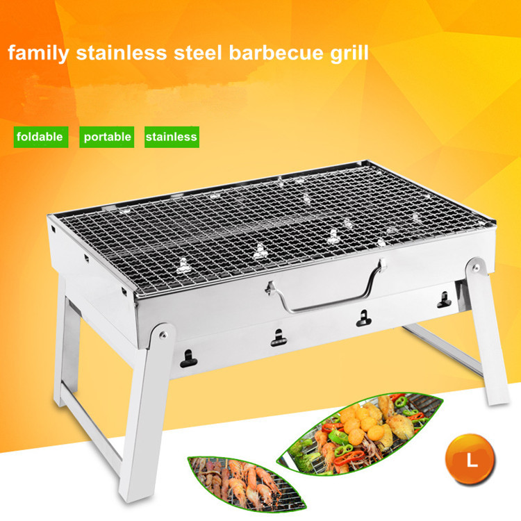 high quality stainless steel material portable folding Barbecue Grill Charcoal Grill Thickened Shelf Convenient Outdoor shove(China (Mainland))