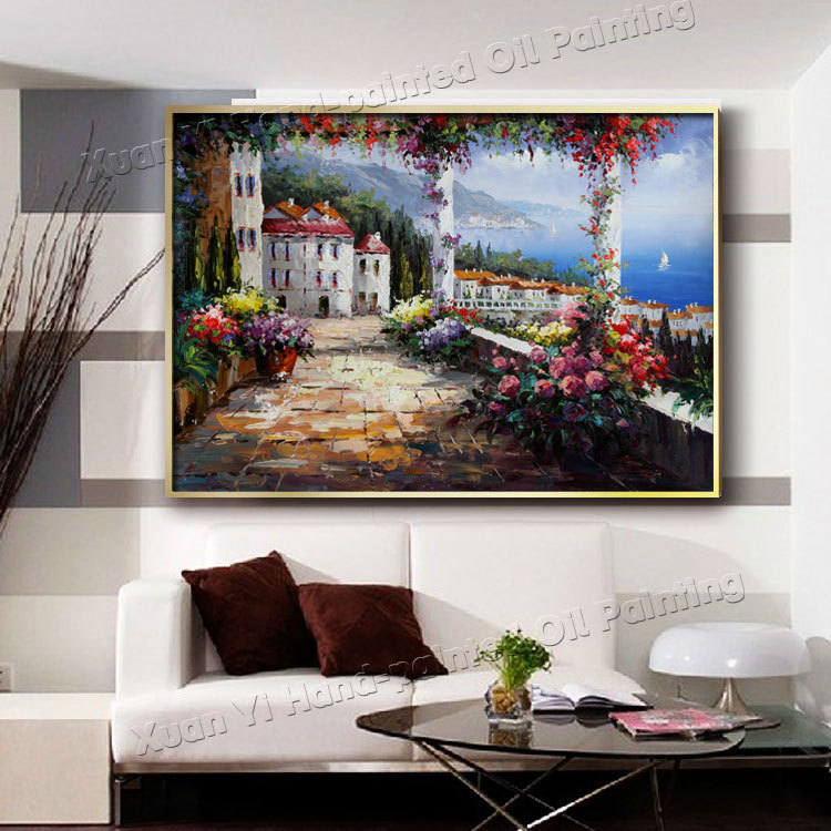 Buy Hand Painted Abstract Modern Art Decor Trees Flower Oil Painting Palette Knife Canvas Wall Picture For Living Room (No Frame) cheap