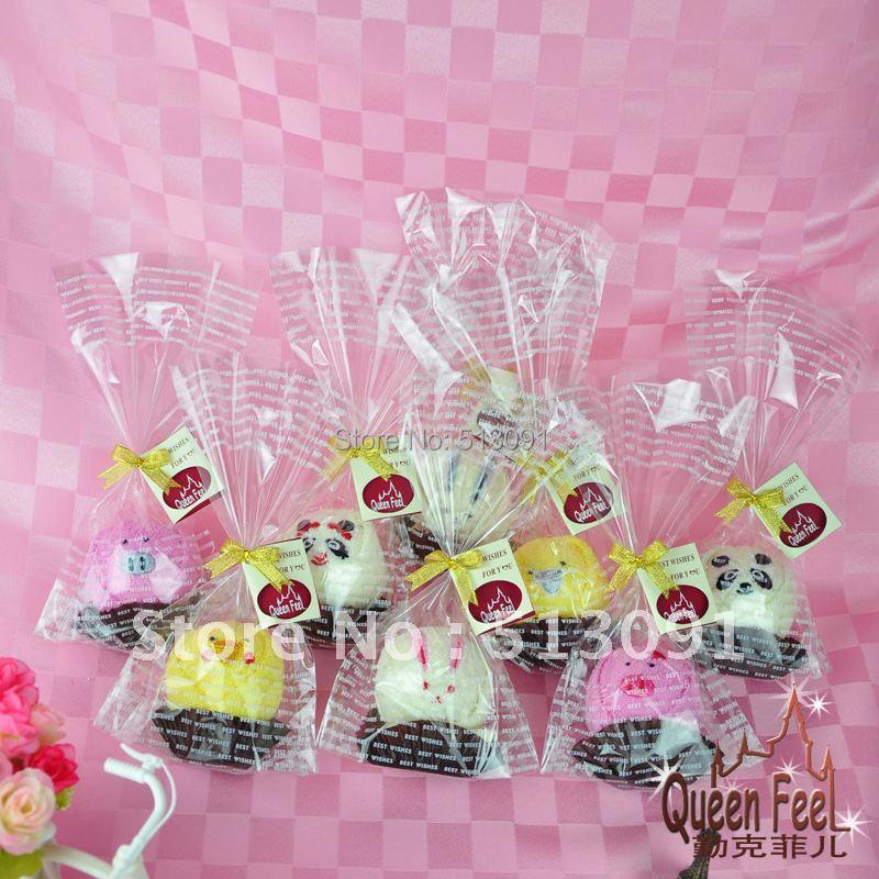 Free Shipping 10pcs/lot 100%Cotton cake Towel Fun Animal Shapes for Wedding Christmas Valentines Birthday gifts(China (Mainland))