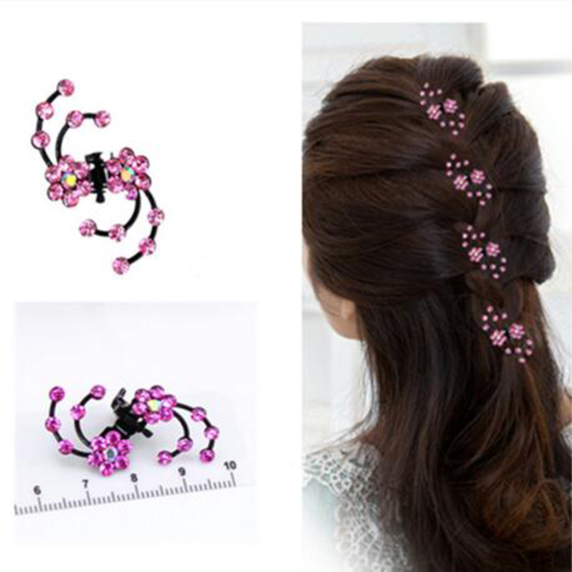 6pcs/lot New Fashion 6Pcs Girls Crystal Snowflake Hair claws Clips Hair Pins Headwear Crystal hair Accessories Hair Clips