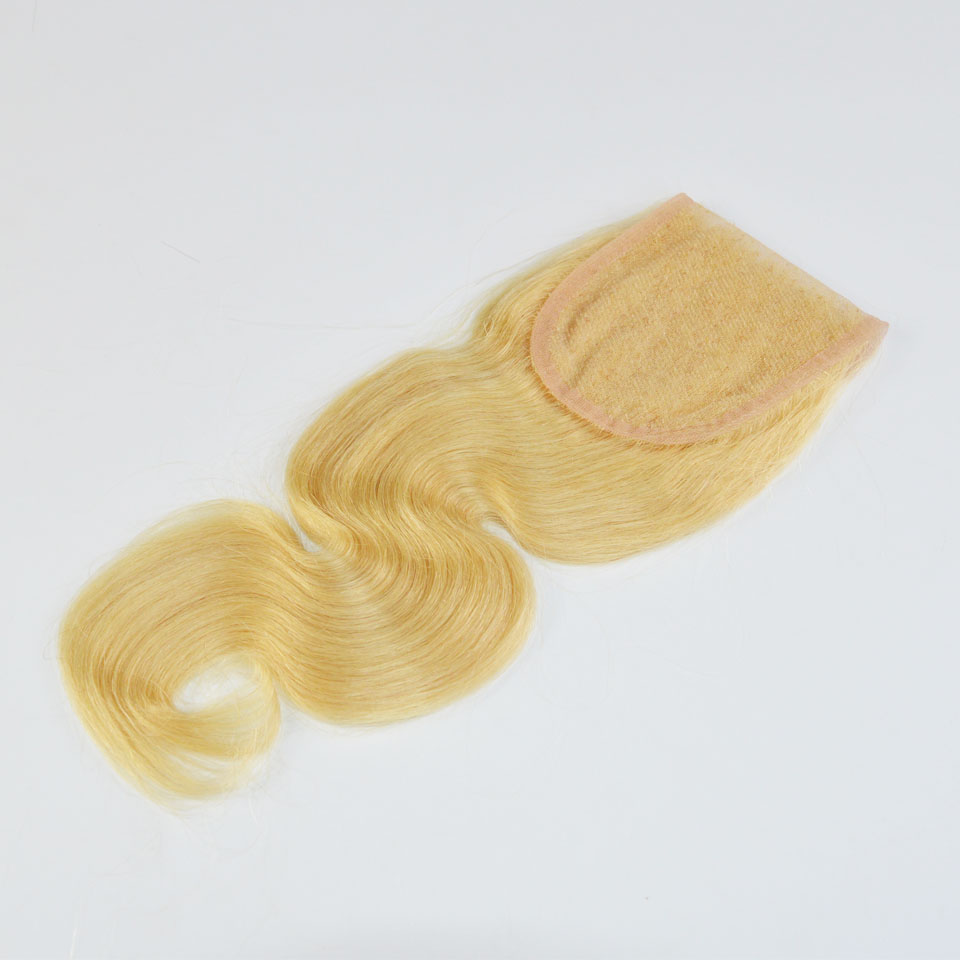 Unprocessed Virgin Mongolian Hair Bleached Knot 3.5*4 inch Middle free 3 Parting #613 Blonde Lace Closures wholesale<br><br>Aliexpress
