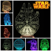 Star Wars 3D Wood Bulbing LED Color Changing Light BB-8 AT-AT Death Star / Millennium Falcon / Darth Vader / Stromtrooper / R2D2(China (Mainland))