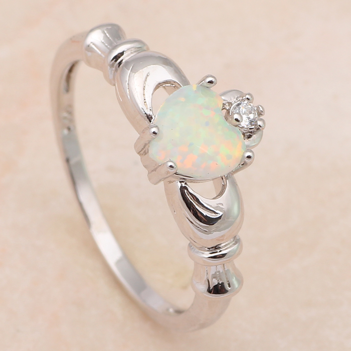 Lovely design mini heart style charming rings Green fire Opal Silver 925 Rings fashion Opal jewelry USA sz#7#8#9 OR568A(China (Mainland))