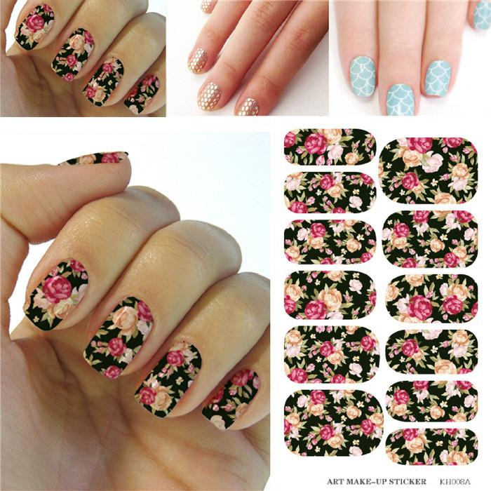 Minx Flowers Design Water Transfer Foils Nail Sticker Manicure Decorations Tools Full Cover Nail Art Decals Patch K5708B(China (Mainland))