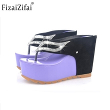 Buy Sexy Lady Wedges Sandals Rhinestone Flip Flop Slipper Platform Sandal Trifle Summer Shoes Women Party Beach Footwears Size 35-39 for $17.85 in AliExpress store