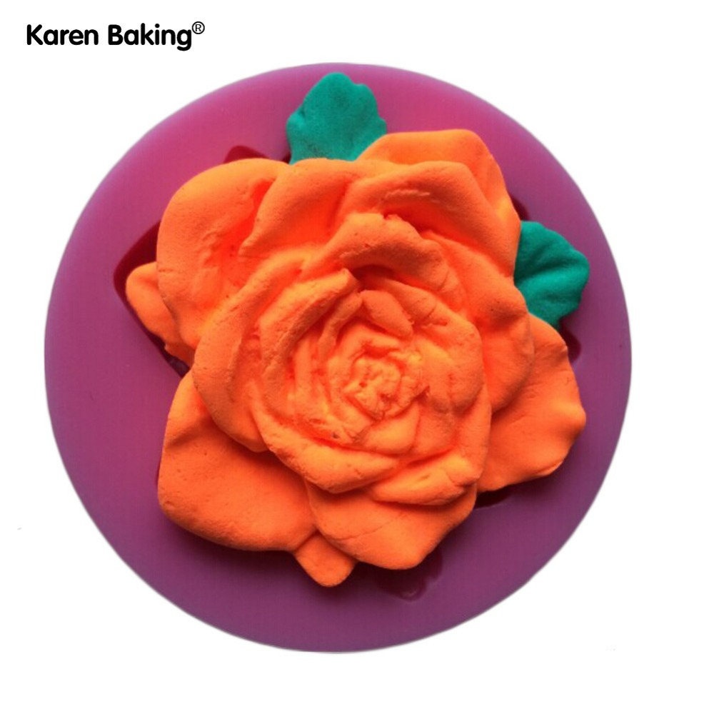 Beautiful Flower Rose Shape Fondant 3D Molds, Silicone Mold, Candle Moulds, Sugar Craft tools, Chocolate Moulds, Bake Ware C217(China (Mainland))