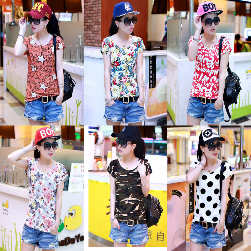 Colorful Printing T-Shirt Summer Short Sleeve O-Neck T Shirts Womens Loose Ice Silk Flexible Casual - Buyworld Store store