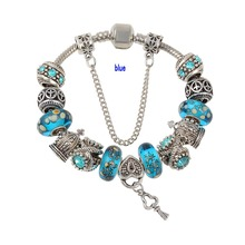 Top Quality European Blue Murano Glass Beads Love Heart Pendant Charm Bracelet Free Shipping(China (Mainland))