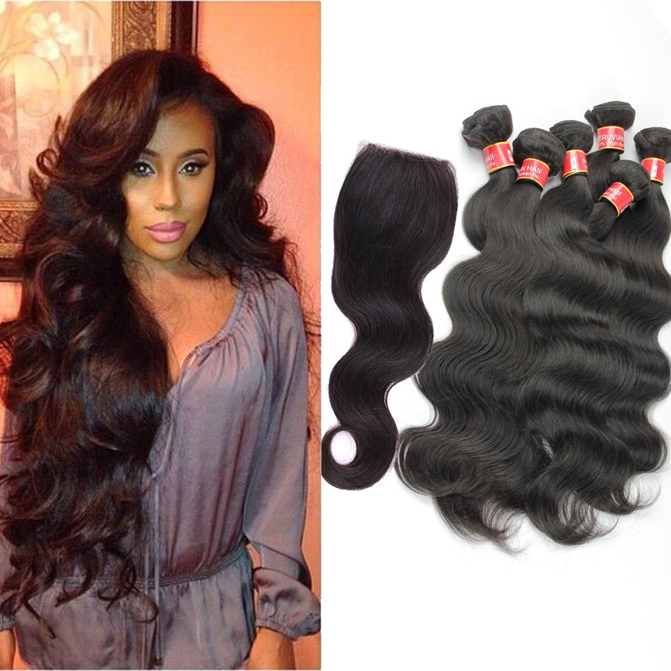 Unprocessed 5A Peruvian body wave lace closure with hair bundles 5pcs lot 100% human hair Weave body wave Peruvian virgin hair<br><br>Aliexpress