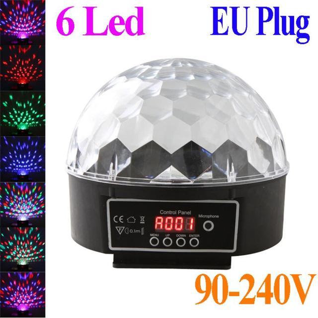 6 Channel DMX512 Control Digital LED RGB Crystal Magic Ball Effect Light DMX Disco DJ Stage Lighting 90-240V EU plug